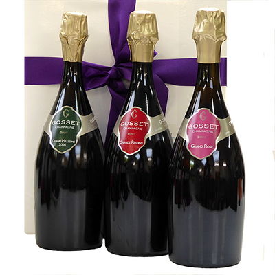 Luxury champagne gift, order a Trio Gosset Champagne as a gift
