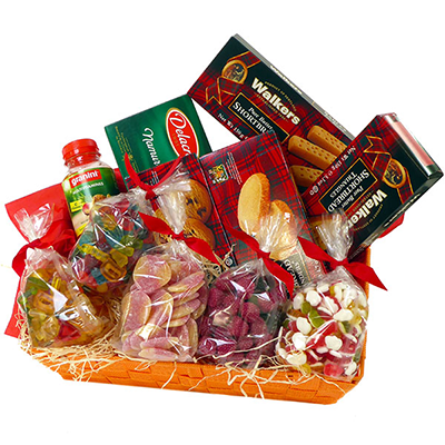 Order Belgian candy baskets and have them delivered